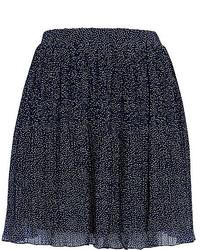 Navy polka dot pleated mini skirt medium 174110