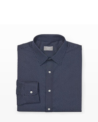 Navy and White Polka Dot Dress Shirt