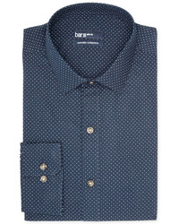 Carnaby collection slim fit navy white dot print dress shirt medium 185394