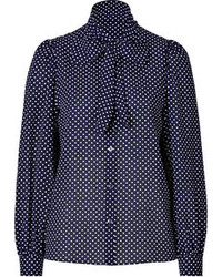 Navy and White Polka Dot Long Sleeve Blouse
