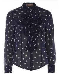 Dorothy perkins jolie moi blue polka ruffle front blouse medium 213047