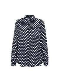 New look navy polka dot long sleeve shirt medium 453045