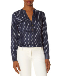 The Limited Polka Dot Henley Blouse