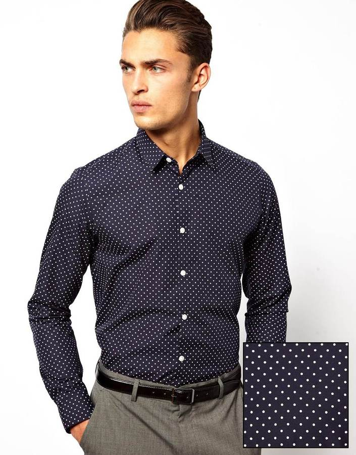 Asos Smart Shirt In Long Sleeve With Polka Dot Print Navy | Where ...