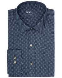 Bar III Carnaby Collection Slim Fit Navy White Dot Print Dress Shirt