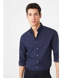 Mango Man Slim Fit Polka Dot Shirt