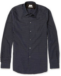 Paul Smith Navy Slim Fit Cotton Silk And Cashmere Blend Shirt