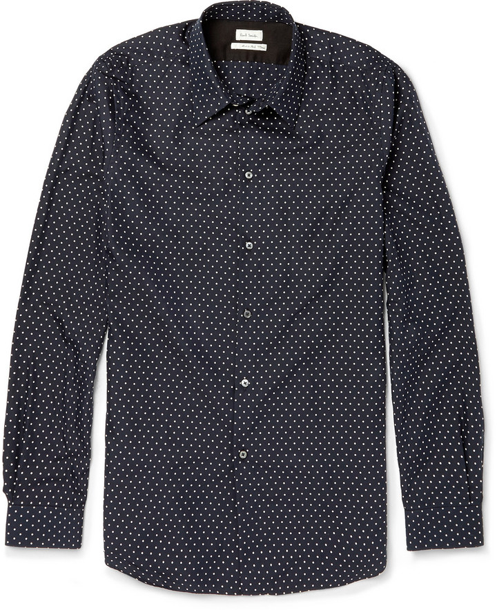 c03cace388da57 ... Paul Smith Navy Slim Fit Cotton Silk And Cashmere Blend Shirt ...