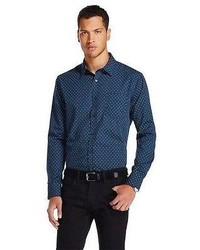 Polka Dot Button Down Shirt Navy No Retreat