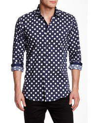 Suslo Couture Long Sleeve Polka Dot Print Slim Fit Shirt