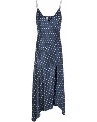 Navy and White Polka Dot Maxi Dress