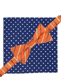 City of London Bow Tie And Pocket Square Set Blue And Orange Stripepolka Dots