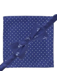 City of London Bow Tie And Pocket Square Set Blue Scooterspolka Dots