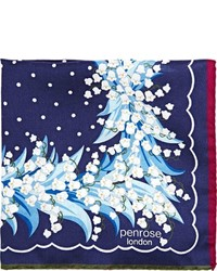 Penrose London Dorrita Pocket Square Blue