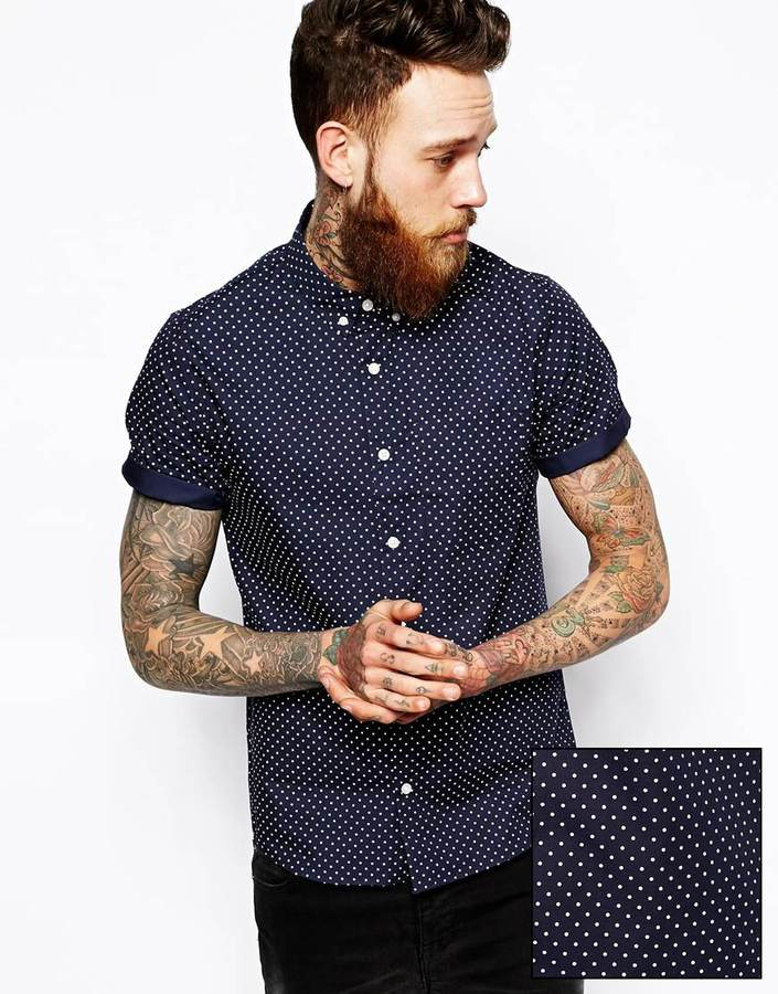 Blue and white polka dot shirt mens is shirt for Mens polka dot shirt short sleeve