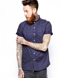 Asos Brand Shirt In Short Sleeve With Polka Dot Print And Grandad Collar