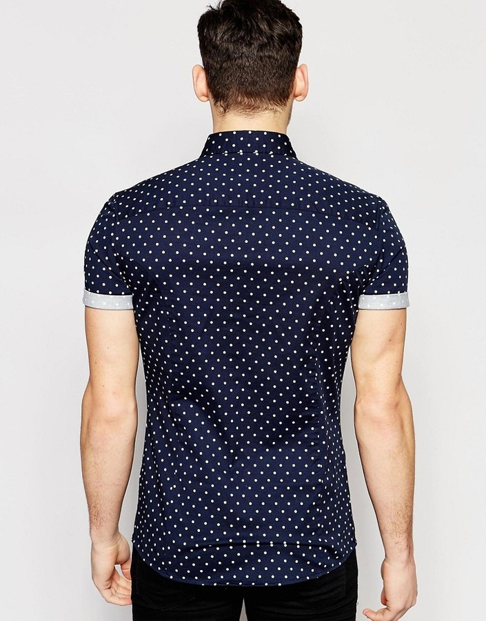 30c31b2897df Asos Brand Skinny Polka Dot Shirt In Navy With Short Sleeves