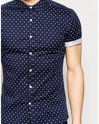 489357050442 ... Asos Brand Skinny Polka Dot Shirt In Navy With Short Sleeves