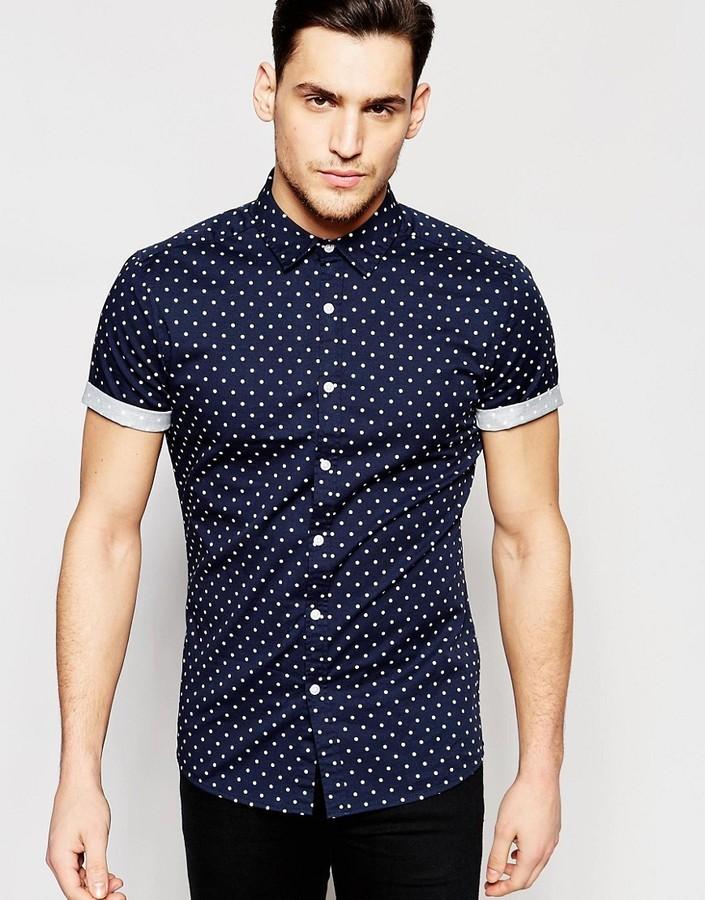 0def92707 ... Asos Brand Skinny Polka Dot Shirt In Navy With Short Sleeves ...