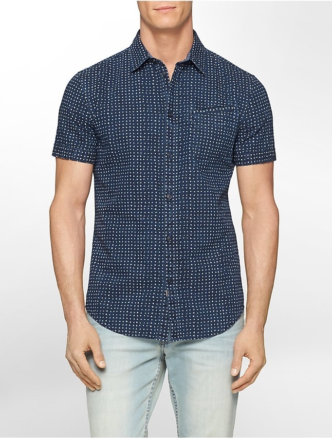 Calvin Klein Slim Fit Chambray Polka Dot Short Sleeve Shirt ...