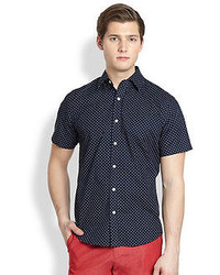 Saks Fifth Avenue Collection Modern Fit Polka Dot Sportshirt