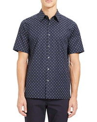 Theory Irving Rhombus Slim Fit Short Sleeve Button Up Shirt