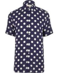 Navy polka dot short sleeve shirt medium 682444