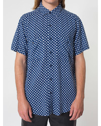 American Apparel Printed Rayon Short Sleeve Button Up Shirt