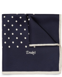 Drakes polka dot silk pocket square medium 3326