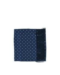 Michelsons of London Wide Polka Dot Silk Scarf Navy Blue