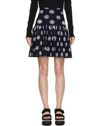 Navy white polka dot skirt medium 167606