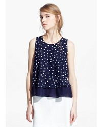 Mango Outlet Polka Dot Double Layer Top