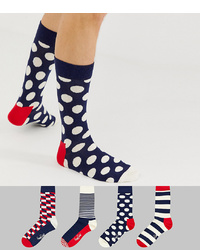 Happy Socks 4 Pack Stripe Gift Box