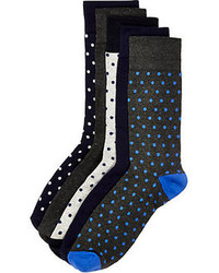 River Island Navy Polka Dot Socks Pack