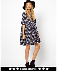 Ganni To Asos Smock Dress In Navy Polka Dot Print