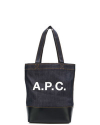Navy and White Print Canvas Tote Bag