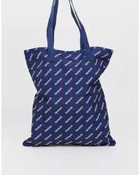 Reebok Logo Tote Bag In Navy