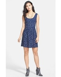 Navy and White Print Casual Dress