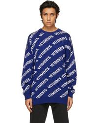 Vetements Blue White Allover Logo Sweater