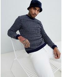 e1d9e6bcb92 Men's Navy and White Print Crew-neck Sweaters from Asos | Men's ...