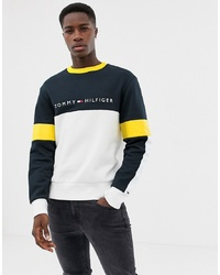 Tommy Hilfiger Limited Sailing Colourblock Logo Crew Neck Sweatshirt Relaxed Fit In Navymulti