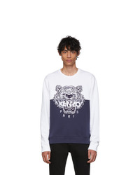 Kenzo Navy And White Limited Edition Colorblock Tiger Sweatshirt