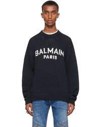 Balmain Navy Merino Intarsia Logo Sweater