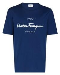 Salvatore Ferragamo Ferra Classic Logo Ss Tee Blu