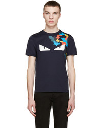 Fendi Navy Monster Eyes T Shirt