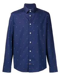 Navy and White Print Long Sleeve Shirt