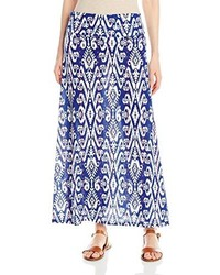 Navy and White Print Maxi Skirt