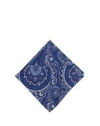 Navy and White Print Pocket Square