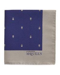 Alexander McQueen Skull Pindot Pocket Square Navywhite