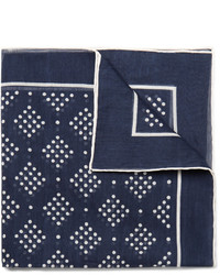 Drakes Drakes Printed Cotton And Silk Blend Pocket Square